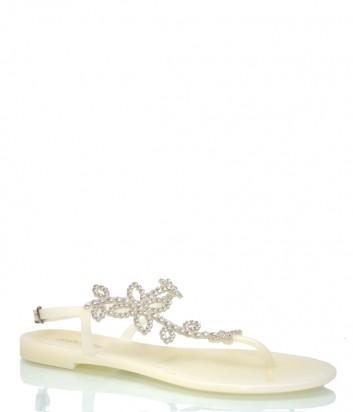 Молочные сандалии Menghi 708 декорированные кристаллами