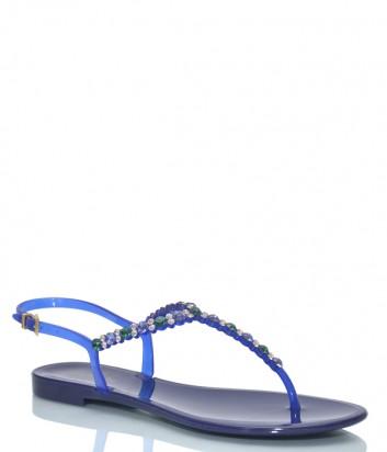 Синие сандалии Menghi 701 декорированные кристаллами