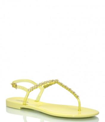 Желтые сандалии Menghi 701 декорированные кристаллами