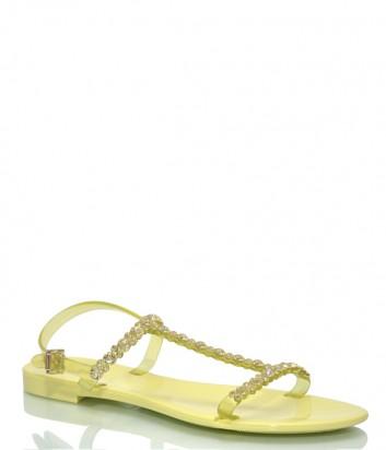 Желтые сандалии Menghi 702 декорированные кристаллами
