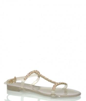 Золотистые сандалии Menghi 702 декорированные кристаллами