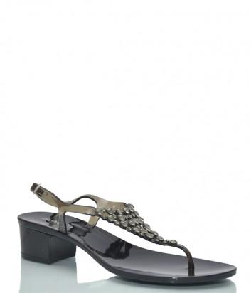 Черные сандалии Menghi 703 декорированные кристаллами