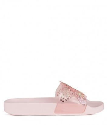 Розовые шлепанцы Menghi 2053 с узором из кристаллов в виде бабочки