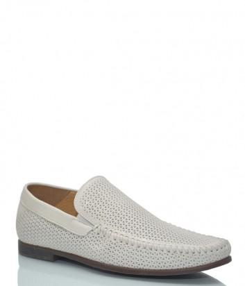 Кожаные туфли Luca Guerrini 10059 с перфорацией белые
