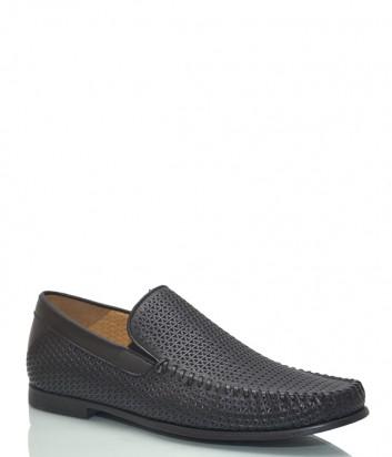 Кожаные туфли Luca Guerrini 10059 с перфорацией черные