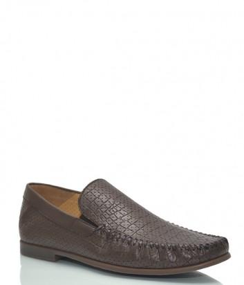 Кожаные туфли Luca Guerrini 9607 с тиснением под крокодила коричневые