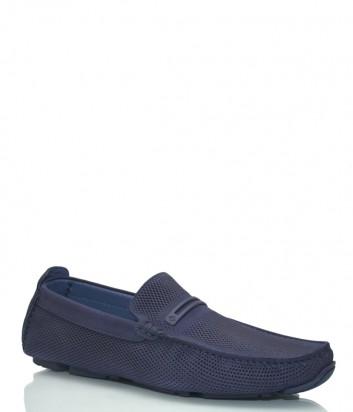 Кожаные туфли Luca Guerrini 10123 с перфорацией синие