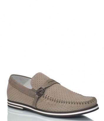 Кожаные туфли Luca Guerrini 10067 с перфорацией бежевые