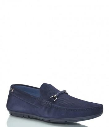 Замшевые туфли Luca Guerrini 10096 с перфорацией синие