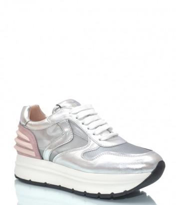 Кожаные кроссовки Voile Blanche 3503 серебристые