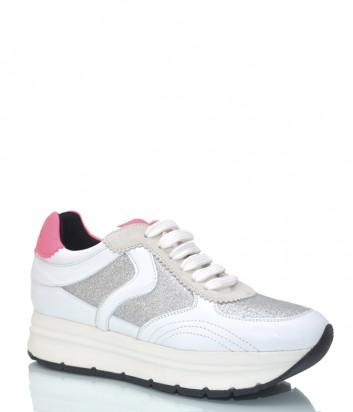 Белые кроссовки Voile Blanche 3768 с глиттерными вставками