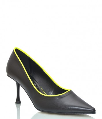 Черные кожаные туфли Bottega Lotti 772002 с неоновым кантом