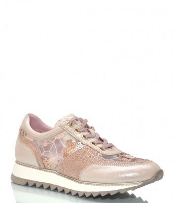 Кожаные кроссовки Lab Milano 33302 пудровые