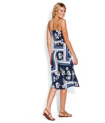 Платье на запах Seafolly 53572-DR синее с принтом
