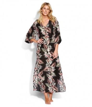 Длинное платье Seafolly 53495-KA черное с ярким принтом