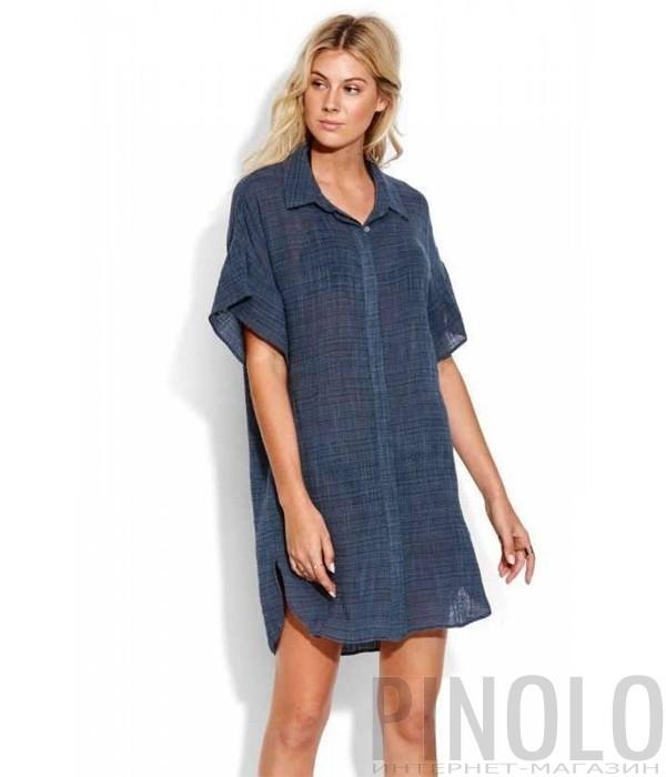 Удлиненная хлопковая рубашка Seafolly 53440-TO синяя