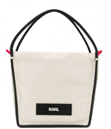 Бежевая кожаная сумка-шоппер Karl Lagerfeld 91KW3003 с черным кантом
