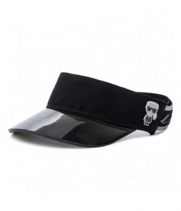 Черный козырек Karl Lagerfeld 91KW3408 с фирменным эластичным ремешком