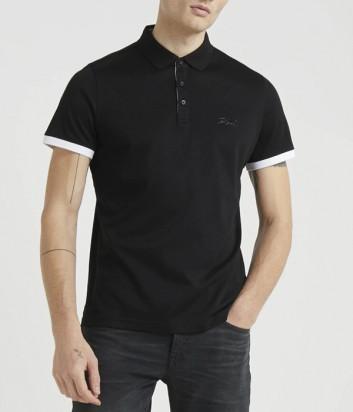 Черное поло Karl Lagerfeld 755020 с белым кантом на рукавах