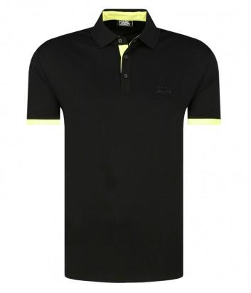Черное поло Karl Lagerfeld 755020 с желтым кантом на рукавах