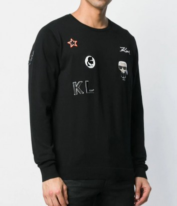 Черный свитшот Karl Lagerfeld 655009 с нашивками