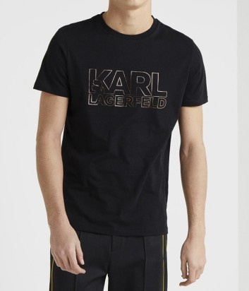 Футболка Karl Lagerfeld 755057 черная с золотистым логотипом