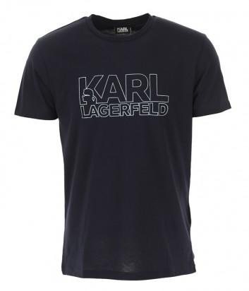 Футболка Karl Lagerfeld 755057 черная с серебристым логотипом
