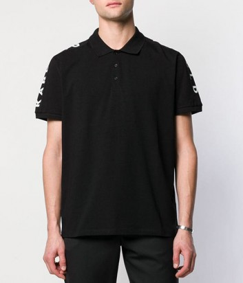 Черное поло Karl Lagerfeld 755029 с лого на рукаве