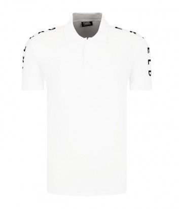 Белое поло Karl Lagerfeld 755029 с лого на рукаве