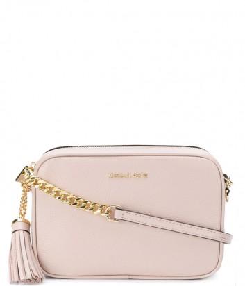 Кожаная сумка через плечо Michael Kors Ginny с кисточкой нежно-розовая