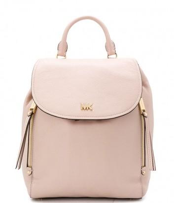 Кожаный рюкзак Michael Kors Evie с двумя вертикальными молниями нежно-розовый