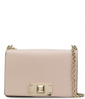 Кожаная сумочка на цепочке Furla Mimi 1000672 с откидным клапаном бежевая