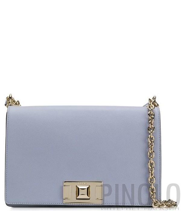e25c14d69719 Кожаная сумка на цепочке Furla Mimi 1007402 с откидным клапаном голубая