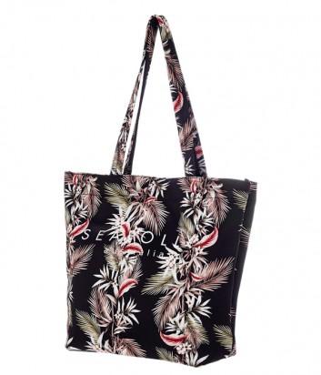 Пляжная сумка Seafolly 71445-BG черная с принтом