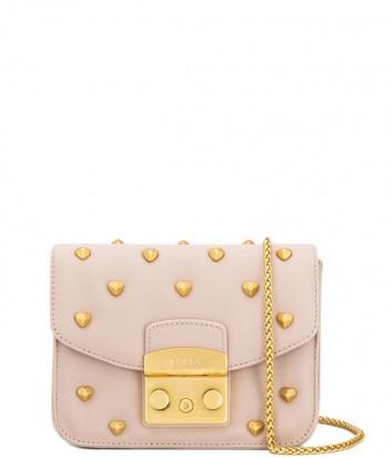 Кожаная сумка Furla Metropolis 1000639 пудровая с заклепками сердечками