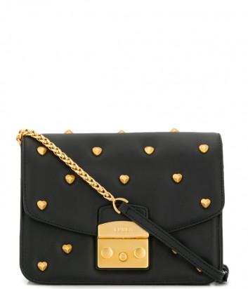 Кожаная сумка Furla Metropolis 1000626 черная с заклепками сердечками