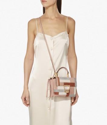Маленькая замшевая сумка Coccinelle Arlettis с откидным клапаном в пудровых тонах