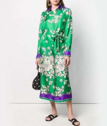 Шелковое платье-рубашка P.A.R.O.S.H. Salato 722338 зеленое