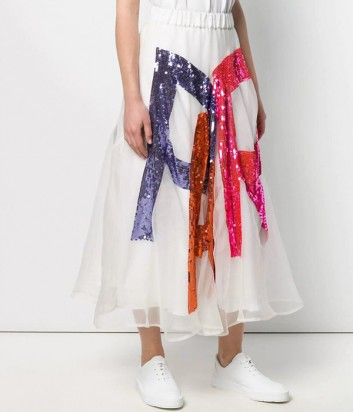 Белая пышная юбка P.A.R.O.S.H. Gambit 620577 расшитая пайетками