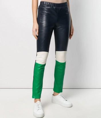 Кожаные брюки-скинни P.A.R.O.S.H. Motorcycle 230596 сине-зеленые