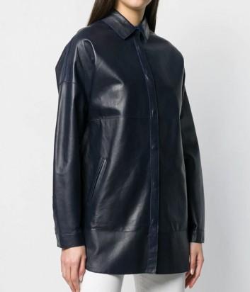 Кожаная куртка оверсайз P.A.R.O.S.H. Malindi 430708 рубашечного фасона синяя