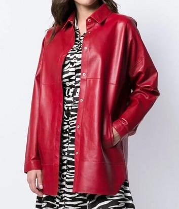 Кожаная куртка оверсайз P.A.R.O.S.H. Malindi 430708 рубашечного фасона красная