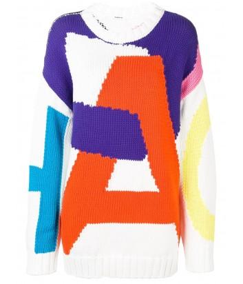 Белый свитер оверсайз P.A.R.O.S.H. Caos 510199 с цветными надписями