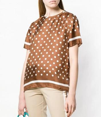 Шелковая блуза P.A.R.O.S.H. Suelo 311091 коричневая в горох