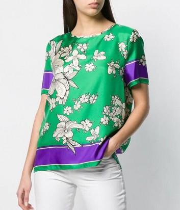 Шелковая блуза P.A.R.O.S.H. Salto 311085 зеленый с цветочным узором