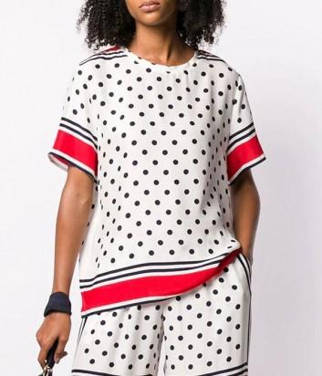 Шелковая блуза P.A.R.O.S.H. Super 310807 белая в горох
