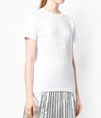 Белая футболка P.A.R.O.S.H. Coshine 110026 в россыпи кристаллов