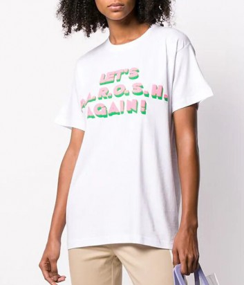Белая футболка P.A.R.O.S.H. Coagain 110022 с надписью