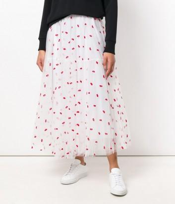 Белая юбка-пачка P.A.R.O.S.H. Palabra 620029 с вышивкой в виде алых губ