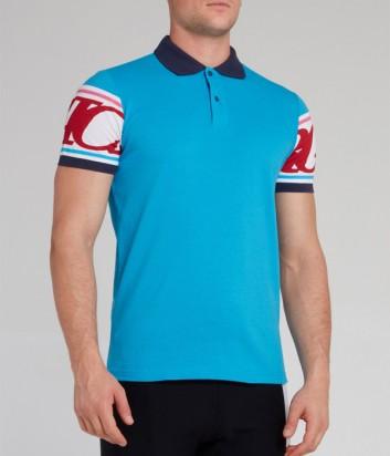 Голубая рубашка-поло ICEBERG F0326310 с логотипом на спине